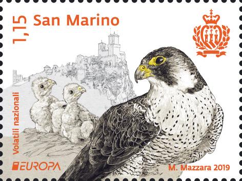 Il falco pellegrino finisce sui francobolli